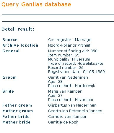 Marriage listing for Gerrit van Nederijnen and Maria van Kampen on Genlias