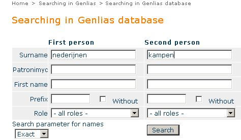 Filling in the Genlias search form